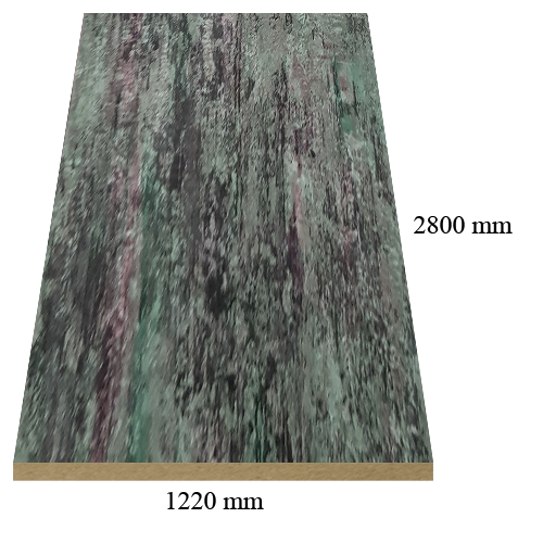 530 Green marble high gloss - PVC coated 18 mm MDF