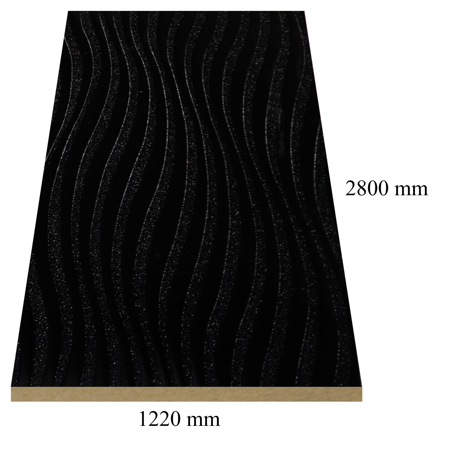 487 Sonic black glossy - PVC coated 18 mm MDF